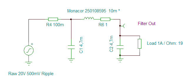 DDDAC PSU Raw Voltage filter - with choke Circuit